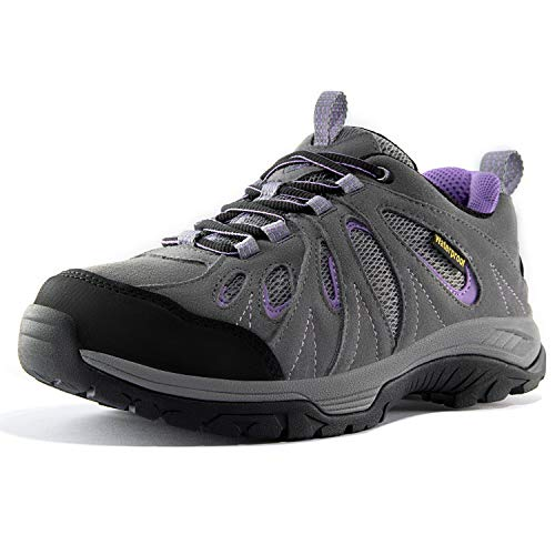 Wantdo Women's Waterproof Hiking Shoes Low Cut Women Hiking Boots Non-Slip and Breathable Winter Trekking Shoes Suede Leather Outdoor Trail Hiker Running Boots Grey Viola 9.5 M US