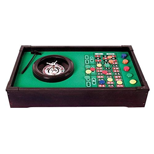 Invero Deluxe Mini-Tisch-Roulette-Set aus Holz Family Fun-Spiel mit Roulette-Rad mit Zwei Nullen, 1x Roulette-Ball, 1x Rake und 50x Spielchips - 51 x 31 x 10 cm