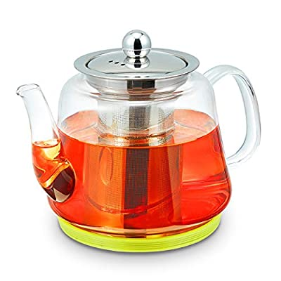 Glass Teapot with Removable Stainless Steel Infuser for Loose Leaf Tea, Microwave and Stovetop Safe, Matching Coasters for Teapot & Infuser, Gooseneck Kettle Tea Brewer, 900mL/30oz