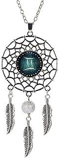 VOIMAKAS Dream Catcher Necklace, Retro Boho Zodiac Sign Pendant Dangling Feather Tassel Bead Charm Chain Constellation Jewelry for Women - Gemini
