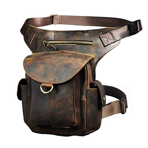 Le'aokuu Mens Leather Messenger Shoulder Bag Motorcycle Tactic Fanny Belt Waist Bag Pack Pouch Drop Leg Bag (G1018 Brown)