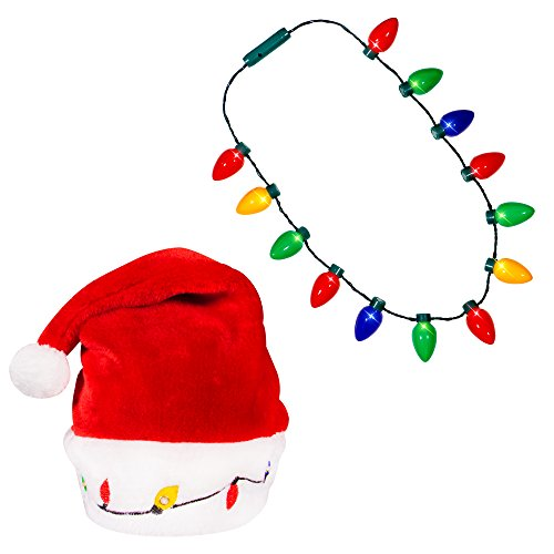 Blinking Light-up Plush Red Santa Hat + LED Christmas Bulb Necklace Kit for Ugly Sweater Xmas Holiday Party