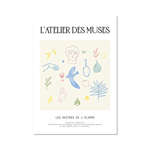 Bloque de color Matisse obra de arte abstracto estatua griega impresin artstica diosa griega cartel familia sin marco lienzo pintura A1 15x20cm