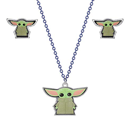 Disney Star Wars The Mandalorian The Child Fashion Stud Earrings and Necklace Set, Official License