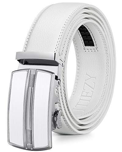 ITIEZY Men's Leather Ratchet Dress Belt with Automatic Buckle Sliding Belt for Men in Gift Box