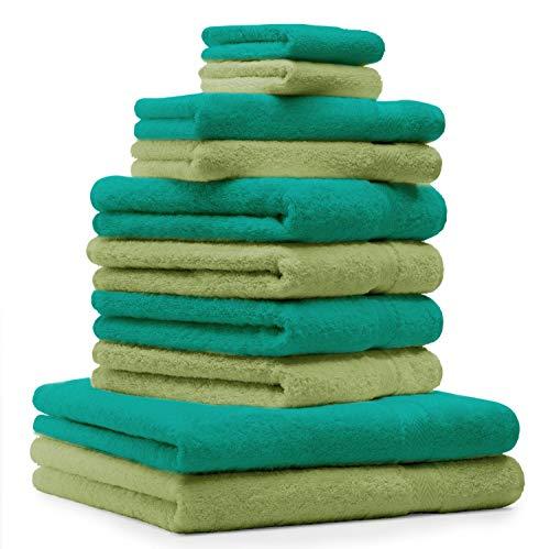 Betz Set di 10 Asciugamani Premium 2 Asciugamani da Doccia 4 Asciugamani 2 Asciugamani per Ospiti 2 Guanti da Bagno 100% Cotone Colore Verde Smeraldo e Verde Mela