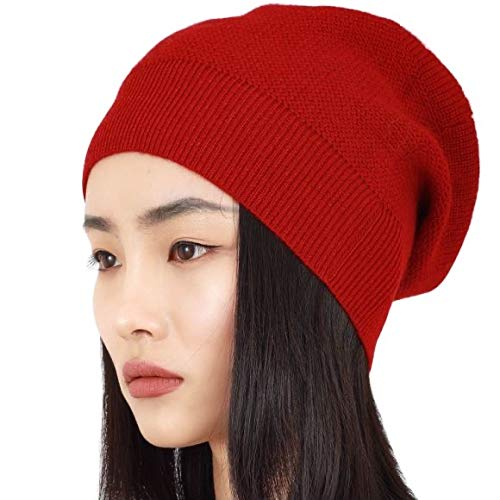 WaySoft Pure 100% Cashmere Beanie for Women in a Gift Box, Oversized Women Beanie Hat, Bring Warm and Luxury to Your Loved Ones, Perfect (Merlot)