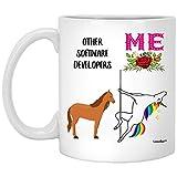 N\A Funny Best Software Developer Taza de café Blanca con cumpleaños de Unicornio, 11 oz