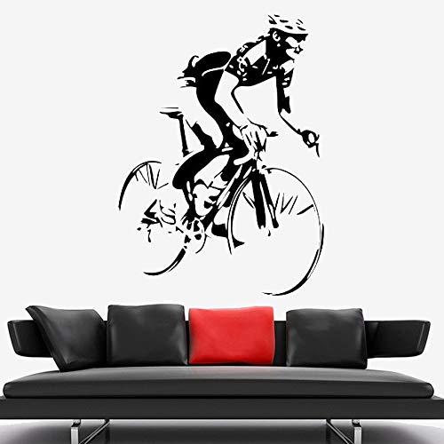 Zdklfm69 Pegatinas de Pared Adhesivos Pared Ciclista, Bicicleta, Bicicleta de Carretera, Carreras, Deporte, Vinilo, Pegatina, Interior, hogar, Dormitorio, decoración, Mural 116x84cm