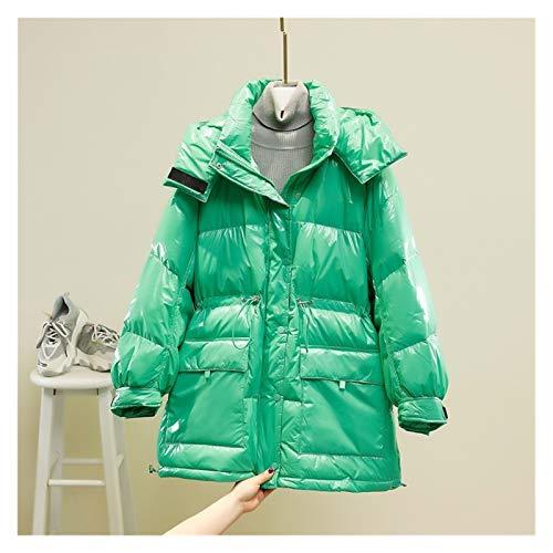 ZYHWS - Chaqueta de invierno para mujer con capucha y plumón de pato blanco para mujer, color morado y amarillo, plumas de nieve (color verde claro, tamaño: Samll)