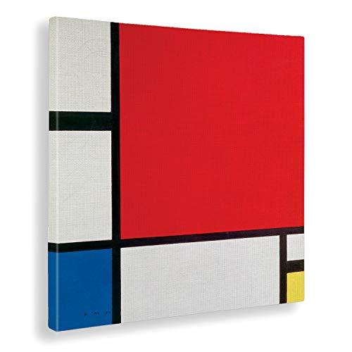 Giallobus - Cuadro - Piet Mondrian - Composición II en Rojo, Azul y Amarillo - Estampado en Lienzo - Listo para Colgar - Varios tamaños 50x50 cm