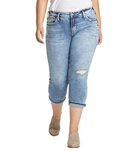 Silver Jeans Co. Women's Plus Size Elyse Curvy Fit Mid Rise Capri Jean, Distressed Medium Indigo, 16W