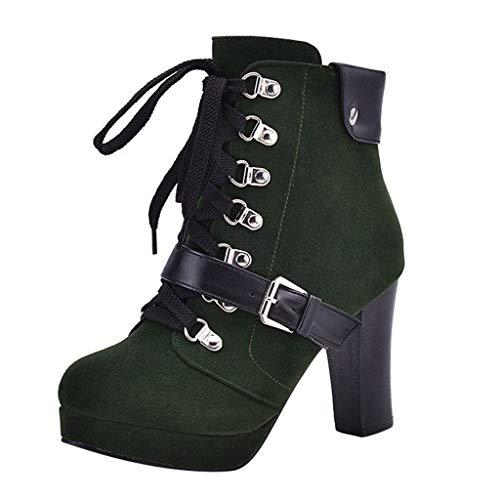 TTLOVE Damen Mode Elegant Plateau Stiefel Pumps, Wasserdicht High Heel Schnürstiefel Biker Boots Kurze Stiefeletten Schnürsenkel,35-41EU(Grün,41 EU)