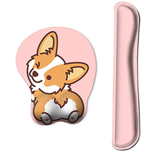 HAOCOO Keyboard Pad Wrist Rest and Gel Mouse Pad with Wrist Support,Ergonomic Corgi Mouse Pads with Non-Slip Backing Memory Foam Filled, Easy Typing &Pain Relief for Home Office Computer Laptop(Pink)