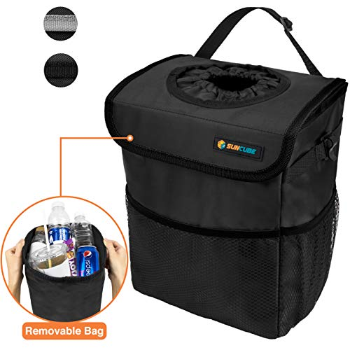 SUN CUBE Car Trash Can with Lid and Removable Leakproof Lining | Waterproof Hanging Trash Bin with Storage Pockets for Headrest, Console, Back Seat | Portable Car Organizer Garbage Can (Black)