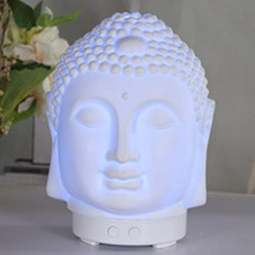 Essential Oil Diffuser 100ml Cool Mist Humidifier - Peaceful Buddha Head, Waterless Auto-Off ,7 Color Night Lights - Essential Oil Aromatherapy for Home Spa Yoga( White )