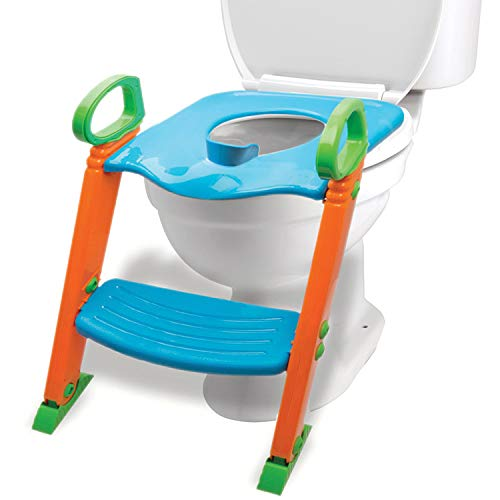 Potty Seat with Ladder & Upgraded Splashguard - Toilet Step Stool for Kids Toddlers w/ Handles. Sturdy, Safe & Adjustable Height w/ Anti Slip Pads.
