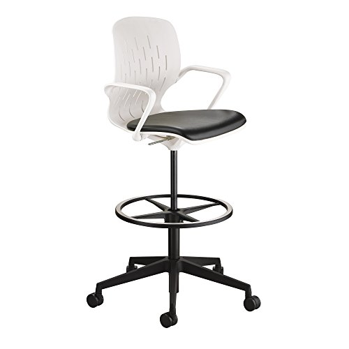 Safco Products Shell Extended Swivel Office Desk Computer Ergonomic Chair, Pneumatic Height Adjustable, White