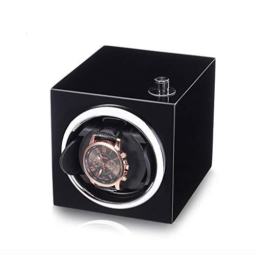 WWSHM Einzelne automatische Uhrenbeweger Box Piano Paint sehr leise elektrische Aufbewahrungsbox , for Männer Frauen automatische Kettenschüttler (rot schwarz) (Color : Black)