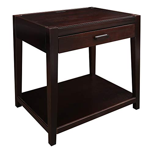 Casual Home Notre Dame Nightstand with USB Ports-Espresso
