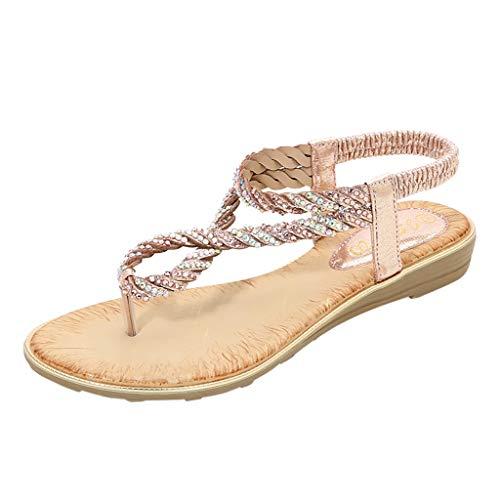 iYmitz Damen Zehentrenner Sandalen 2020 New rutschfeste Sandaletten Strass Zehenschlaufe Sommerschuhe Größe 36-42