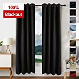 EDILLY 100% Blackout Curtains Drapery Panels - Window Treatment Sets Blackout Curtain/Panels for Bedroom/Living Room Window/Kitchen (2 Panels, W52xL84 inch Length, Black)