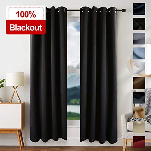 EDILLY 100% Blackout Curtains Drapery Panels - Window Treatment Sets Blackout Curtain/Panels for Bedroom/Living Room Window/Kitchen (2 Panels, W52xL63 inch Length, Black)