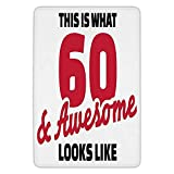 BagsPillow Bathroom Bath Rug Kitchen Floor Mat Carpet,60th Birthday Decorations,Motivational Birthday Party Quote 60 and Awesome Image,Red Black and White,Flannel Microfiber Non-Slip Soft Absorbent