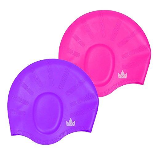 The Friendly Swede Cuffie da Nuoto in Silicone per Capelli Lunghi per Adulto e Bambino (Rosa+Viola)