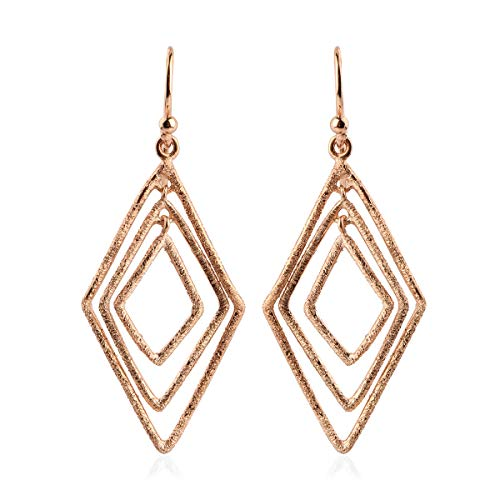 TJC Drop Dangle Earrings for Women in Rose Gold Plated 925 Sterling Silver Valentine's Day Gift for Girlfriend