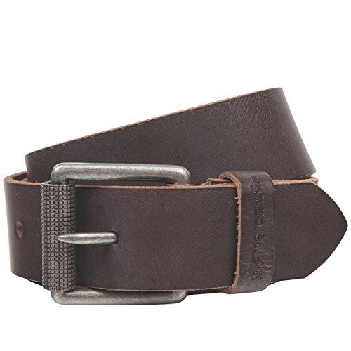 Pierre Cardin Cinturón de piel para hombre, cinturón de piel de vacuno, con cierre de rodillo, negro/marrón marrón 115 cm
