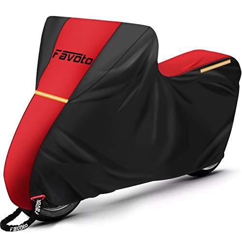 Favoto Funda para Moto Cubierta de Moto Scooter Bicicleta 210D Impermeable Protectora a Prueba de Sol/Lluvia/Polvo/Viento/Nieve/Hojas/Excremento de Pájaro al Aire Libre, 245x105x125cm Rojo+Negro