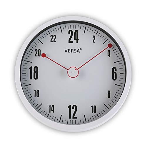 Versa 20900015 Reloj de pared de cocina Blanco, 24H, Ø30cm diámetro, Analógico