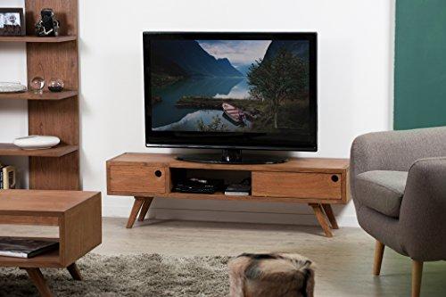 MACABANE Banc TV 1 Porte coulissante, Bois, Cannelle, 140 x 35 x 40 cm