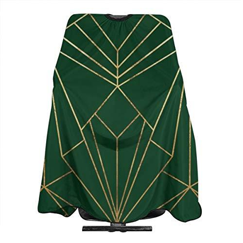 Art Deco - Delantal de corte de pelo en color verde dorado, impermeable, para hombre, mujer, adulto, corte de pelo antiestático, 55 x 66 pulgadas