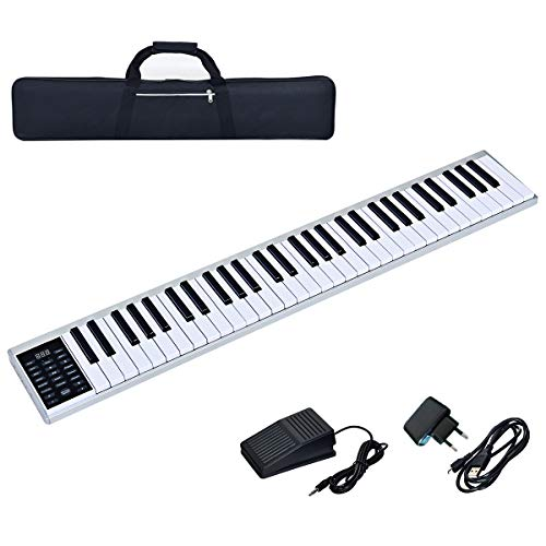 COSTWAY Digitales Piano Keyboard 61 Tasten, tragbares elektronisches Musikinstrument, MIDI Bluetooth, Bedienfeld, Leichtgewicht, Musikgeschenke für Kinder und Anfänger, mit Tragetasche, weiß
