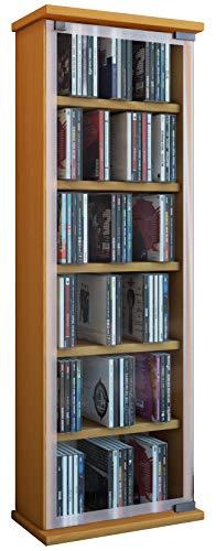 VCM 21023 Regal DVD CD Rack Medienregal Medienschrank Aufbewahrung Holzregal Standregal Möbel Schrank Möbel Buche