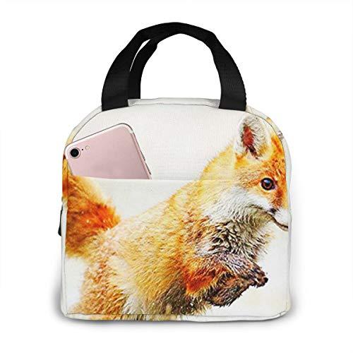 QCFW Lunch Tasche Kühltasche Picknick Schule Lunch Paket Kühlbox Isoliertasche Mittagessen Tasche für Herren Damen Kinder im Freien Jagd auf Ginger Fox