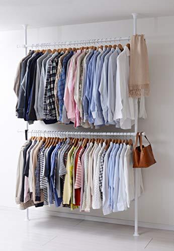 幅90cmから160cmまで伸ばせる大容量のつっぱりラックです。上下2段に分かれていて、約90着のシャツを掛けられます。耐荷重60kgなので、お洋服の重さを気にせずに収納できて安心です。