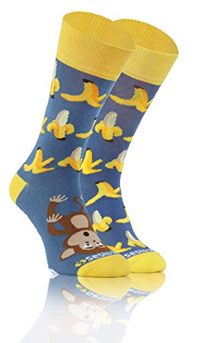 Sesto Senso Lustige Baumwolle Socken Damen Herren Bunte Ungleiche Funny Socks Monkey Banana 39-42 Banane Affe