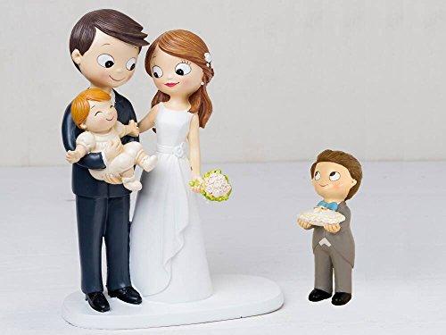 Figur Braut Torte Baby mit Armen und Kind Kissen Ringe mit Fliege