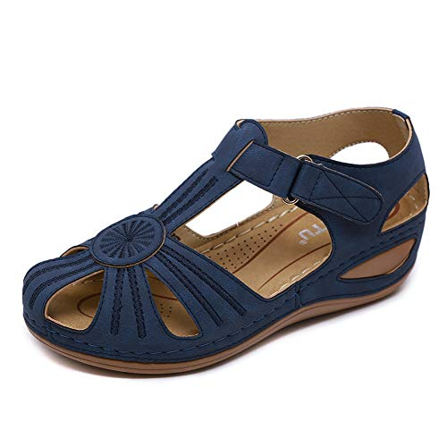 Meeshine Women's Comfortable Sandals Bohemia Flip-Flop Ankle Strap Hollow Round Toe Wedge Sandals Soft Sole Casual Gladiator Outdoor Shoes (10 B(M) US,Navy)