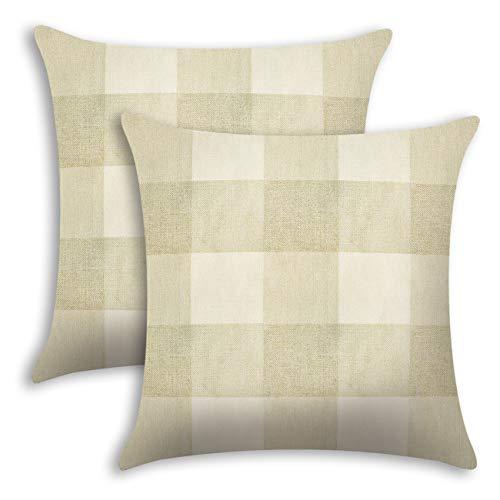 Ogrmar 2PCS Retro Buffalo Plaids Cotton Linen Throw Pillow Covers Decorative Square Pillowcase for Sofa Couch Home Car Decoration (Cream and White, 18' x 18')