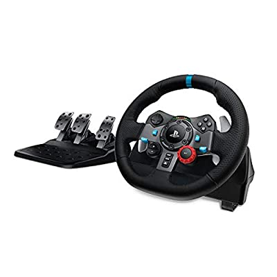 Logitech G29 Driving Force Racing Wheel and Floor Pedals, Real Force Feedback, Stainless Steel Paddle Shifters, Leather Steering Wheel Cover, Adjustable Floor Pedals, UK-Plug, PS4/PS3/PC/Mac – Black
