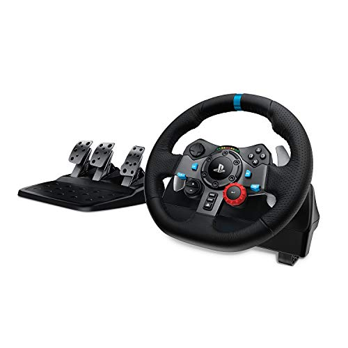 Logitech G29 Driving Force Racing Wheel and Floor Pedals, Real Force Feedback, Stainless Steel Paddle Shifters, Leather Steering Wheel Cover, Adjustable Floor Pedals, EU-Plug, PS4 PS3 PC Mac, Black