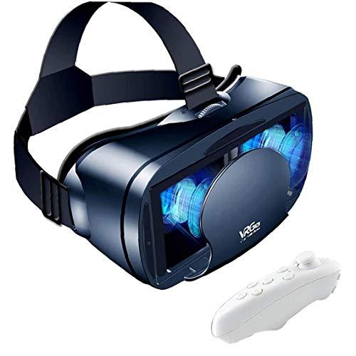 VR Casco de Realidad Virtual 3D Glasses Teléfono VR Lentes Suave cómodo de Distancia Ajustable con Control Remoto para películas 3D Juegos Negros, VR vidrios manejan