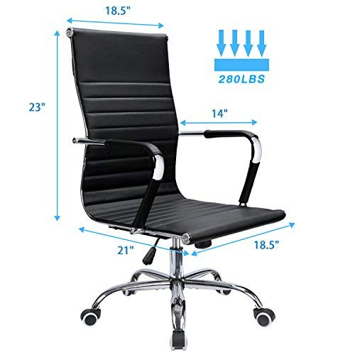 Devoko-Office-Desk-Chair-Mid-Back-Leather-Height-Adjustable-Swivel-Ribbed-Chairs-Ergonomic-Executive-Conference-Task-Chair-with-Arms