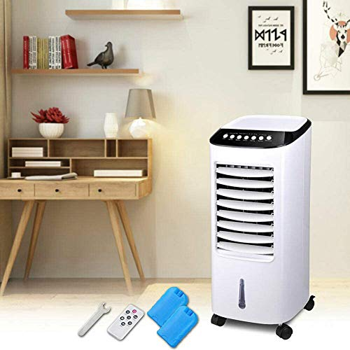 Law Evaporative Air Cooler, 65W 6L Best Portable Air Conditioner with 3 Wind Modes, 3 Speeds, 7.5H Timer with Remote and 2 Ice Box for Bedroom,Living Room,RV,Tent