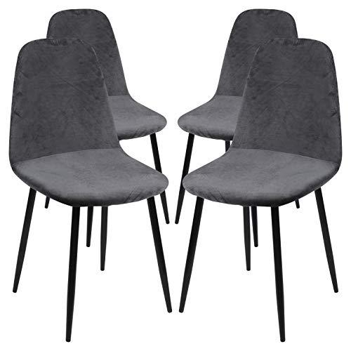 JuneJour Funda para silla, de terciopelo, elástica, lavable, extraíble, con respaldo para silla, café, salón, 1/2/4/6 unidades (Velvet# gris oscuro, 4 unidades)