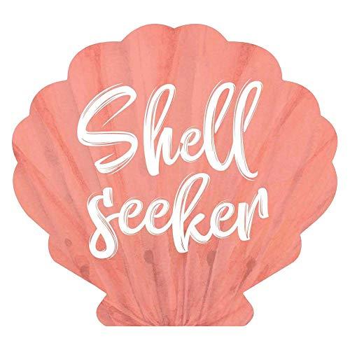 P. Graham Dunn Shell Seeker Seashell Nautical Coral Pink 3.5 x 3.25 Pine Wood Small Tabletop Plaque